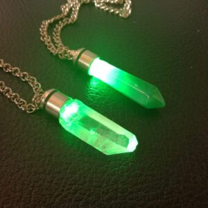 green kyber crystal pendant