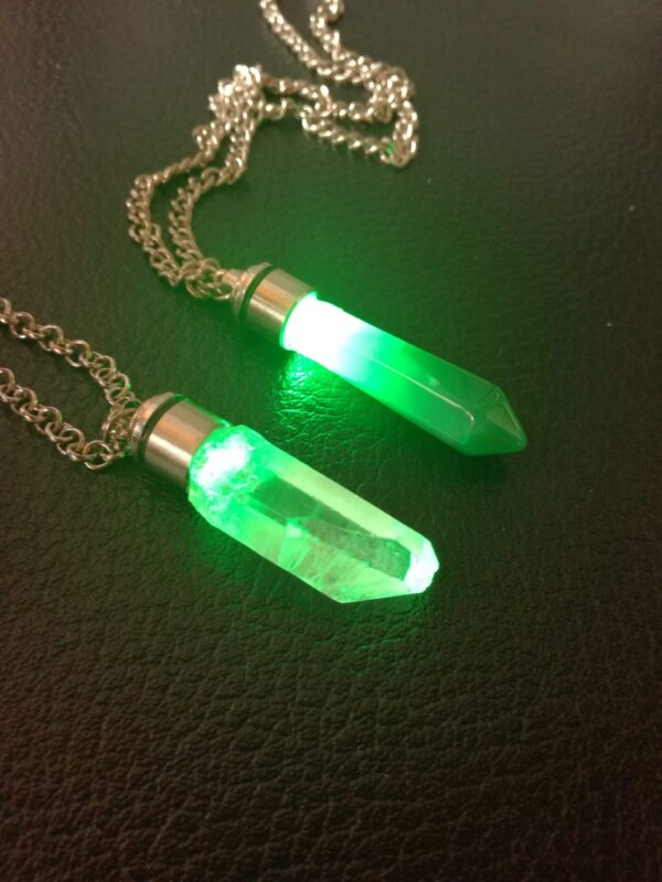 green kyber crystal pendant
