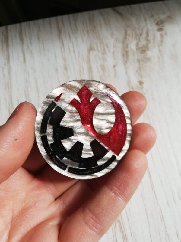 marbled silver star wars pin.
