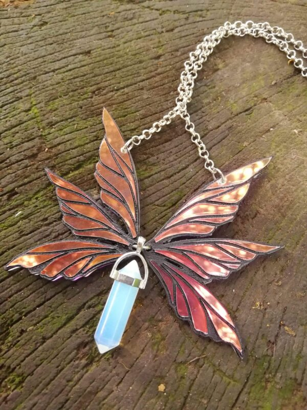 Iridescent fairy wings necklace- Triad with opalite