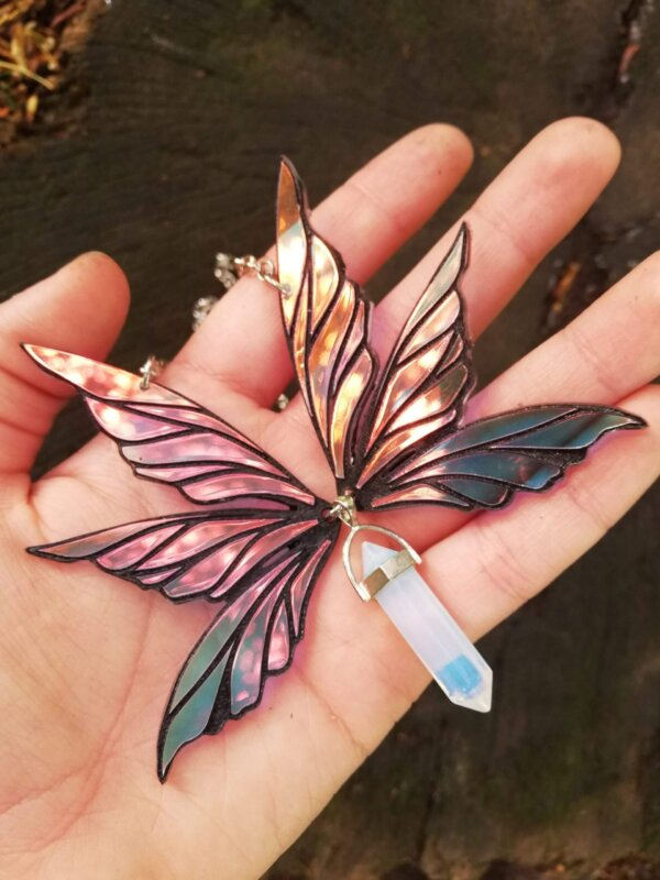 iridescent fairy wings necklace