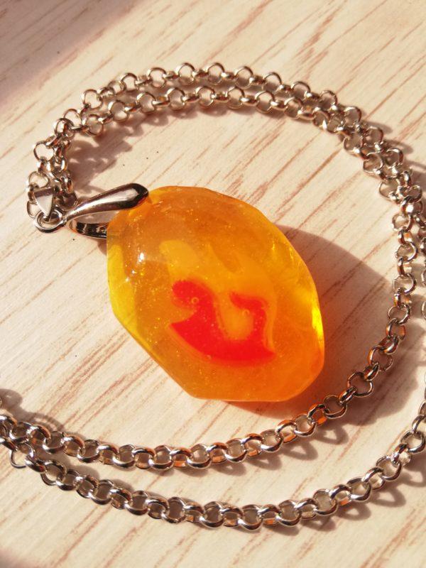 Pokemon fire stone necklace