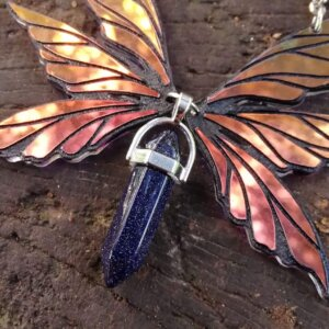 triple fairy wings necklace