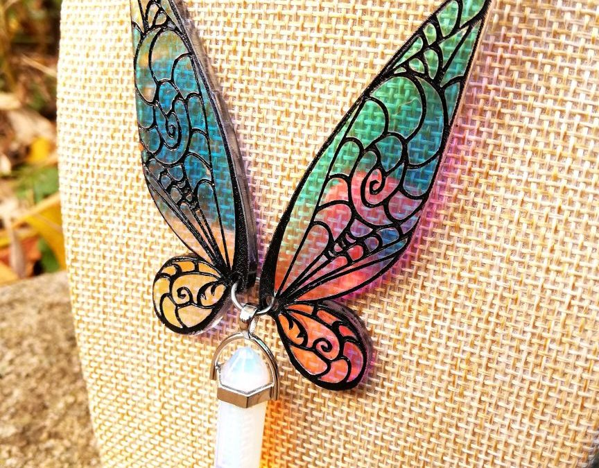 Iridescent fairy wings necklace- Tinker bell with Opalite