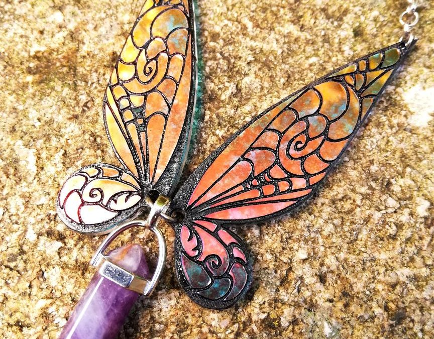 Iridescent fairy wings necklace- Tinker bell with Amethyst
