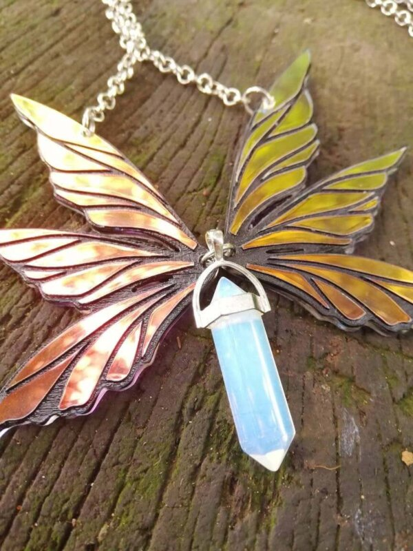fairy wings necklace with blue opalite pendant