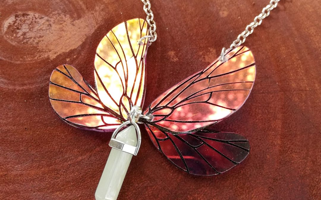 Iridescent fairy wings necklace- Cicada wings