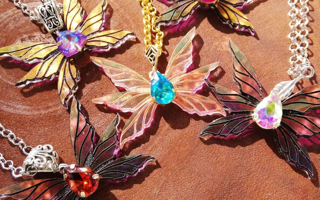 Miniature fairy wings necklace- Triad