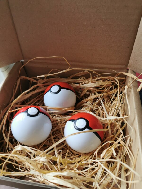 pokeballs on a bed of straw to show packaging