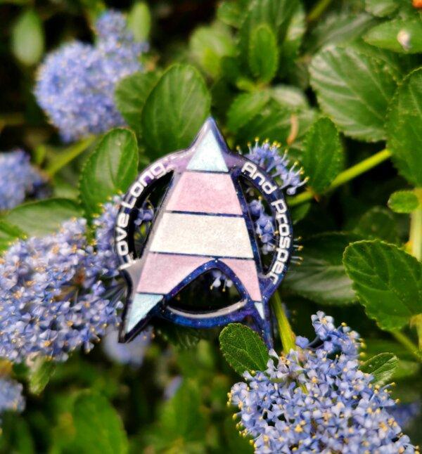 Star Trek Trans Pride pin- love long and prosper