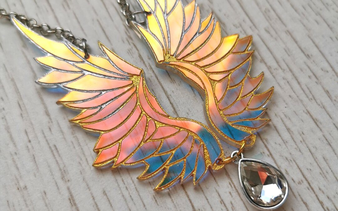 Iridescent feathered wings necklace