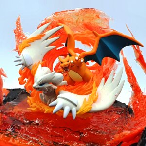charizard reshiram pokemon gameboy diorama