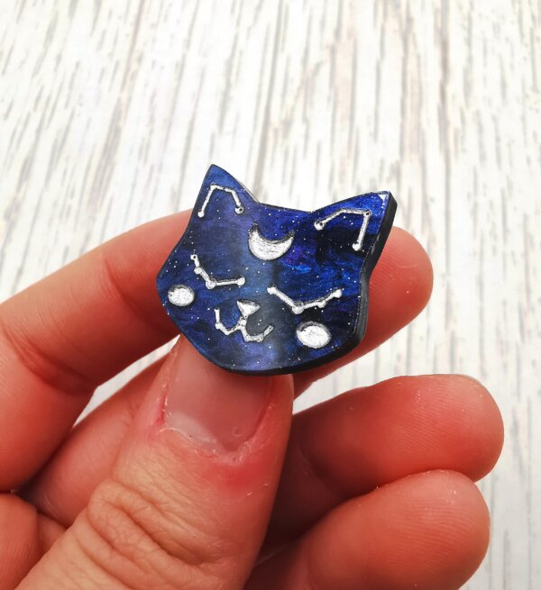 Constellation Cat mini pin