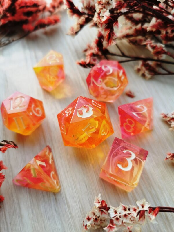 yellow pink shimmery dice